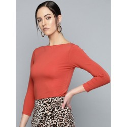 Women Boat Neck Fitted Top